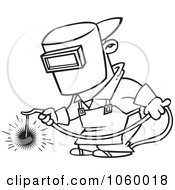 Royalty Free Vector Clip Art Illustration Of A Cartoon Black And White Outline Design Of A Welder At Work