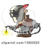 Royalty Free Vector Clip Art Illustration Of A Cartoon Welder At Work