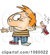 Royalty Free Vector Clip Art Illustration Of A Cartoon Boy Holding Out A Smelly Shoe