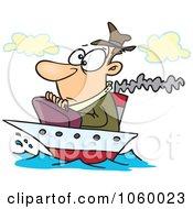 Cartoon Man On A Tiny Ship
