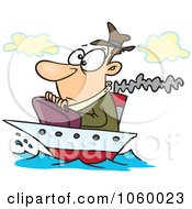 Royalty Free Vector Clip Art Illustration Of A Cartoon Man On A Tiny Ship