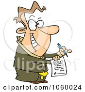 Royalty Free Vector Clip Art Illustration Of A Cartoon Eager Businessman Holding A Contract by toonaday