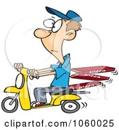 Royalty Free Vector Clip Art Illustration Of A Cartoon Man Delivering Pizza On A Scooter