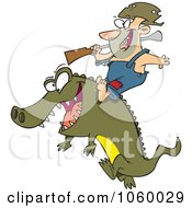 Royalty Free Vector Clip Art Illustration Of A Cartoon Man Riding An Alligator by toonaday