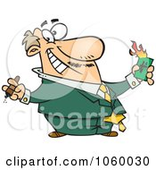 Cartoon Wealthy Businessman Burning Money