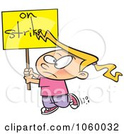 Royalty-Free Vector Clip Art Illustration of a Cartoon Girl On Strike by Ron Leishman