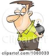 Royalty Free Vector Clip Art Illustration Of A Cartoon Man Holding A Bomb Behind His Back by toonaday