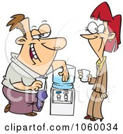 Royalty Free Vector Clip Art Illustration Of Cartoon Colleagues Flirting At The Water Cooler by Ron Leishman