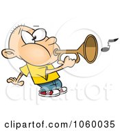 Royalty Free Vector Clip Art Illustration Of A Cartoon Boy Playing A Bugle by toonaday