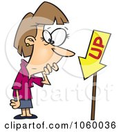 Royalty Free Vector Clip Art Illustration Of A Cartoon Businesswoman Looking At An Up Sign Pointing Down