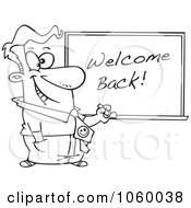 Cartoon Black And White Outline Design Of A Male Teacher Writing Welcome Back On A Board