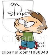 Royalty-Free Vector Clip Art Illustration of a Cartoon Boy Carrying An On Strike Sign by Ron Leishman