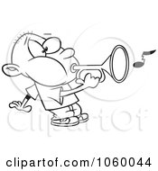 Royalty Free Vector Clip Art Illustration Of A Cartoon Black And White Outline Design Of A Boy Playing A Bugle by toonaday