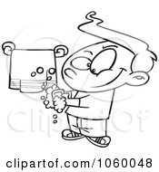 Cartoon Black And White Outline Design Of A Clean Boy Washing His Hands