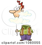 Royalty Free Vector Clip Art Illustration Of A Cartoon Man With His Balloon Head In The Cloud