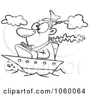Royalty Free Vector Clip Art Illustration Of A Cartoon Black And White Outline Design Of A Man On A Tiny Ship