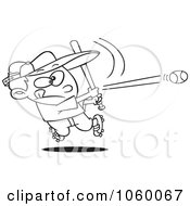 Royalty Free Vector Clip Art Illustration Of A Cartoon Black And White Outline Design Of A Baseball Boy Hitting A Home Run