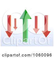 Royalty Free CGI Clip Art Illustration Of 3d Red Arrows Around A Green Arrow
