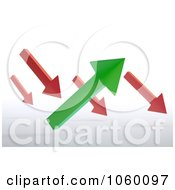 Royalty Free CGI Clip Art Illustration Of 3d Red And Green Arrows Pointing Slightly Up And Down