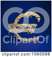 Royalty Free CGI Clip Art Illustration Of A 3d Crumbling Euro Symbol On Blue 1