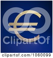 Royalty Free CGI Clip Art Illustration Of A 3d Euro Symbol On Blue by Mopic
