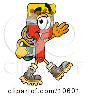 Paint Brush Mascot Cartoon Character Hiking And Carrying A Backpack