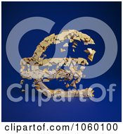 Royalty Free CGI Clip Art Illustration Of A 3d Crumbling Euro Symbol On Blue 2