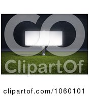 Royalty Free CGI Clip Art Illustration Of A 3d Billboard In A Field At Night by Mopic