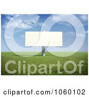 Royalty Free CGI Clip Art Illustration Of A 3d Billboard In A Field During The Day