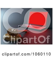 Royalty Free CGI Clip Art Illustration Of A 3d Internet Crime Gavel By A Laptop