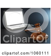 Royalty Free CGI Clip Art Illustration Of A 3d Gavel By A Laptop