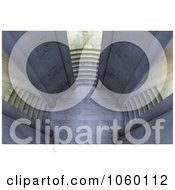 Royalty Free CGI Clip Art Illustration Of A 3d Court Yard With Three Staircases 1 by Mopic