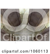 Royalty Free CGI Clip Art Illustration Of A 3d Court Yard With Three Staircases 2 by Mopic