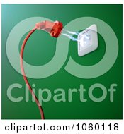 Royalty Free CGI Clip Art Illustration Of 3d Electricity Flowing Between A Socket And Plug 1