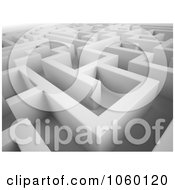 Royalty Free CGI Clip Art Illustration Of A 3d Complex White Maze