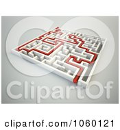 Royalty Free CGI Clip Art Illustration Of A Red Arrow In A 3d Complex White Maze 1
