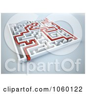 Royalty Free CGI Clip Art Illustration Of A Red Arrow In A 3d Complex White Maze 2