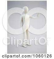 Royalty Free CGI Clip Art Illustration Of A 3d White Person Holding One Hand Up by Mopic