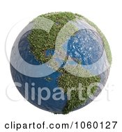 Royalty Free CGI Clip Art Illustration Of A 3d Earth With Grass Continents