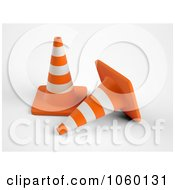 Royalty Free CGI Clip Art Illustration Of 3d Traffic Cones