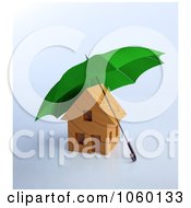 Royalty Free CGI Clip Art Illustration Of A 3d Security Umbrella Over A House