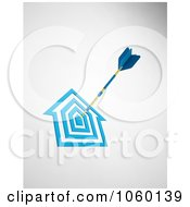 Royalty Free CGI Clip Art Illustration Of A 3d Dart In A House Target