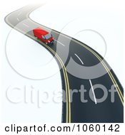 Royalty Free CGI Clip Art Illustration Of A 3d Van Driving On A Windy Road