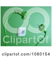 Royalty Free CGI Clip Art Illustration Of Two 3d Plugs Fighting Over A Socket
