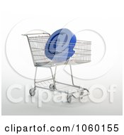 Royalty Free CGI Clip Art Illustration Of A 3d Arobase In A Shopping Cart by Mopic