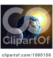 Royalty Free CGI Clip Art Illustration Of A 3d Moon Earth And Sun by Mopic