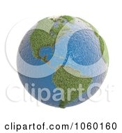 Royalty Free CGI Clip Art Illustration Of A 3d Earth Featuring Grassy America