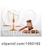 Royalty Free CGI Clip Art Illustration Of A 3d Gavel And Scales