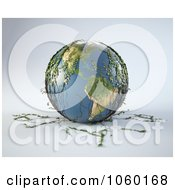 Royalty Free CGI Clip Art Illustration Of A 3d Earth With Ivy Plants by Mopic
