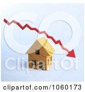 Royalty Free CGI Clip Art Illustration Of A 3d Decline Arrow Over A House